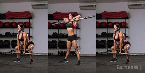 Техника выполнения упражнения Становая тяга в сумо до подбородка